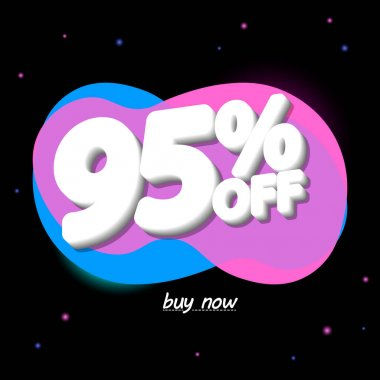 Sale 95% off, bubble banner design template, discount tag, app icon, vector illustration