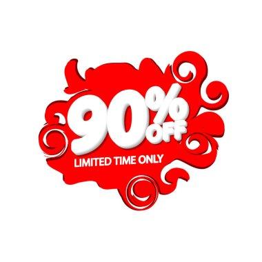 Sale 90% off, bubble banner design template, discount tag, vector illustration
