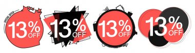 Set Sale 13% off banners, discount tags design template, promo app icons, vector illustration