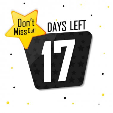 17 Days Left, countdown tag, banner design template, don't miss out, vector illustration