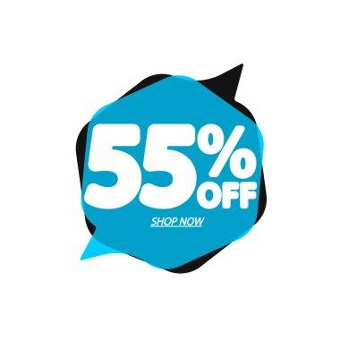 Sale 55% off, bubble banner design template, discount tag, app icon, vector illustration