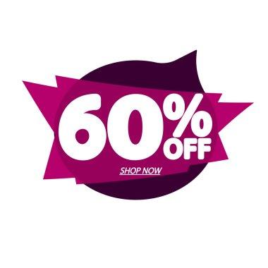 Sale 60% off, bubble banner design template, discount tag, app icon, vector illustration