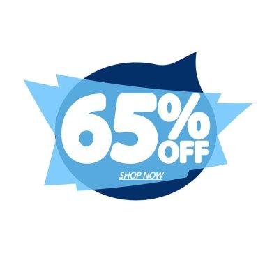 Sale 65% off, bubble banner design template, discount tag, app icon, vector illustration