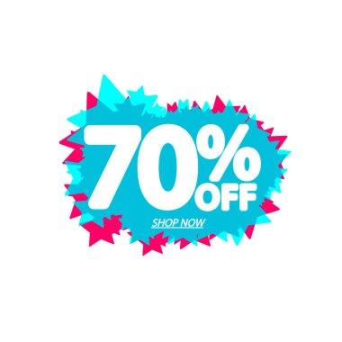 Sale 70% off, bubble banner design template, discount tag, app icon, vector illustration