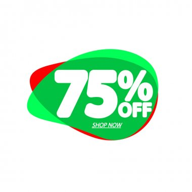 Sale 75% off, bubble banner design template, discount tag, app icon, vector illustration