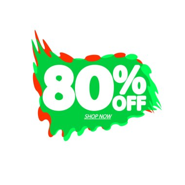 Sale 80% off, bubble banner design template, discount tag, app icon, vector illustration