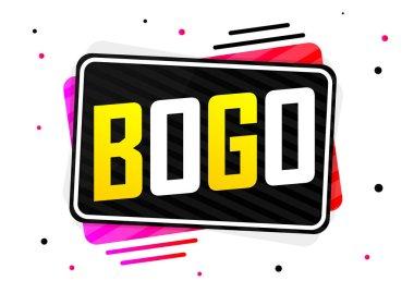 BOGO, Buy 1 Get 1 Free, Sale banner design template, discount tag, app icon, vector illustration