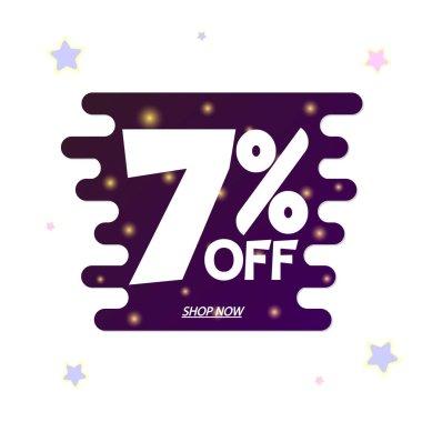 Sale 7% off, discount banner design template, promo tag, vector illustration