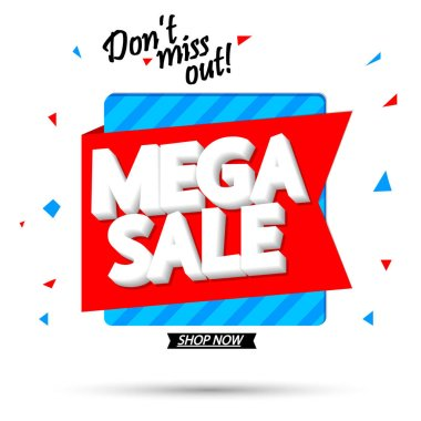 Mega Sale, promotion banner design template, discount tag, vector illustration