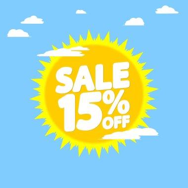 Summer Sale 15% off, discount banner design template, promo tag, vector illustration