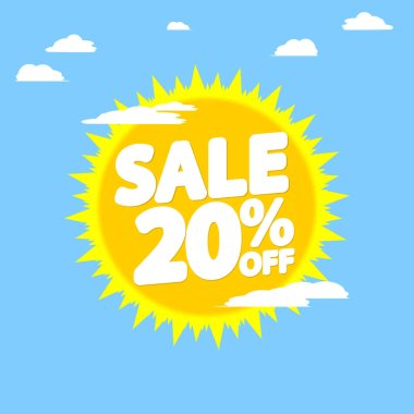 Summer Sale 20% off, discount banner design template, promo tag, vector illustration