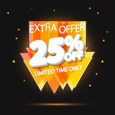 Sale 25% off, discount banner design template, promo tag, extra offer, vector illustration