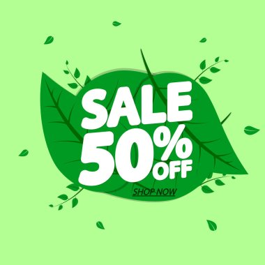 Sale 50% off, discount banner design template, extra promo tag, vector illustration