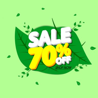 Sale 70% off, discount banner design template, extra promo tag, vector illustration