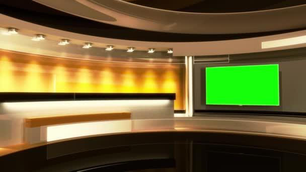 Hírek stúdió. A tökéletes háttér minden zöld képernyőn és a chroma key video termelés. Hurok.