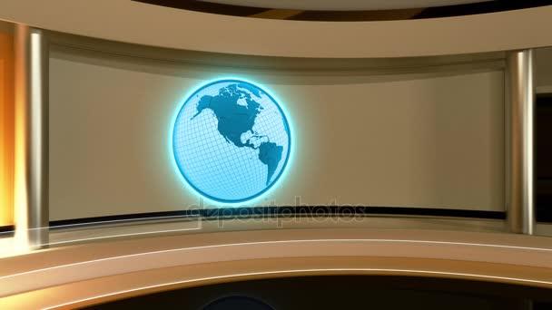 TV-stúdió. Hírek stúdió. Stúdió. Breaking news háttér. Hurok, föld, föld. 3D-leképezés