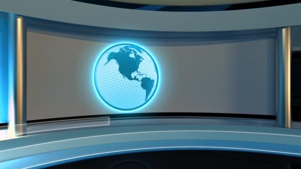 Tv Studio. News studio. Studio. Breaking news background.  Loop, Earth, Globe. 3D rendering