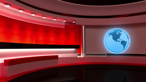 Tv Studio. News studio. Studio. Loop, Earth, Globe.  The perfect backdrop for any green screen or chroma key video or photo production. 3D rendering