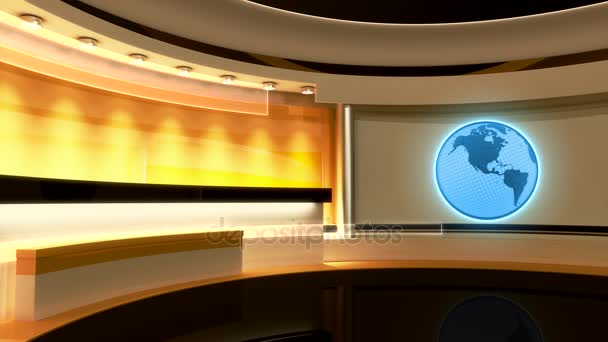 Televizní studio. Zpravodajství. Studio. Loop, Earth, Globe. Perfektní pozadí pro jakoukoliv zelenou obrazovku nebo chroma klíčovou video nebo fotografickou produkci. 3D vykreslování