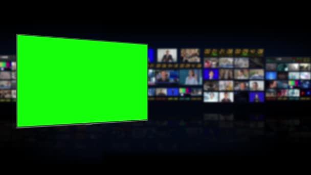 Televizní studio. Studio. Zpravodajství. Diskuzní místnosti Pozadí pro zpravodajství. Rozmazané studio v televizní stanici. Návrhy zpravodajských kanálů. Řídící místnost. 3D vykreslování. Zelená obrazovka