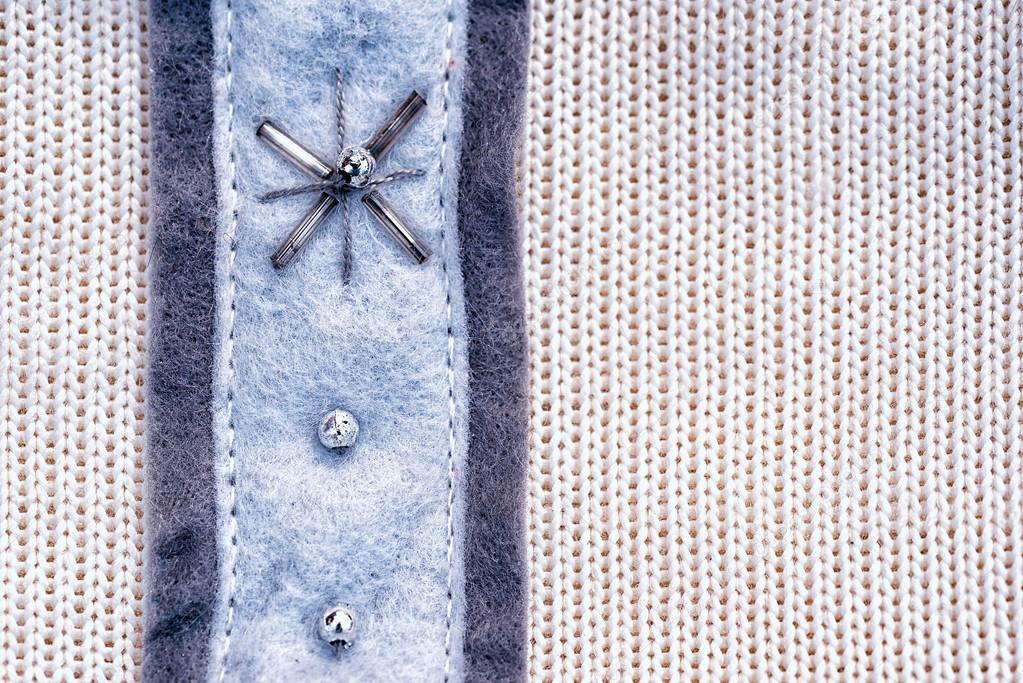 Blanco tejido de fondo de textura de lana con patrón de decoración ...