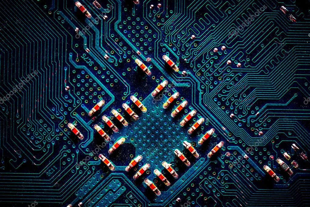 Detail of printed circuit board, old motherboard — Stock Photo © Elf ...