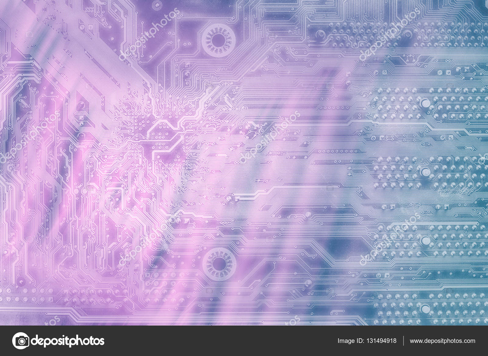 Drawing Modern Electronic Circuit On Blue Grungy Background