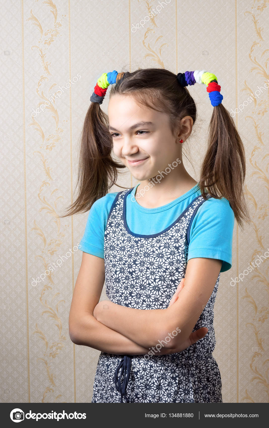 11 Year Girl Bedroom Decoration Ideas: Portrait Of A Smiling 11 Year Old Girl With Funny Tails In