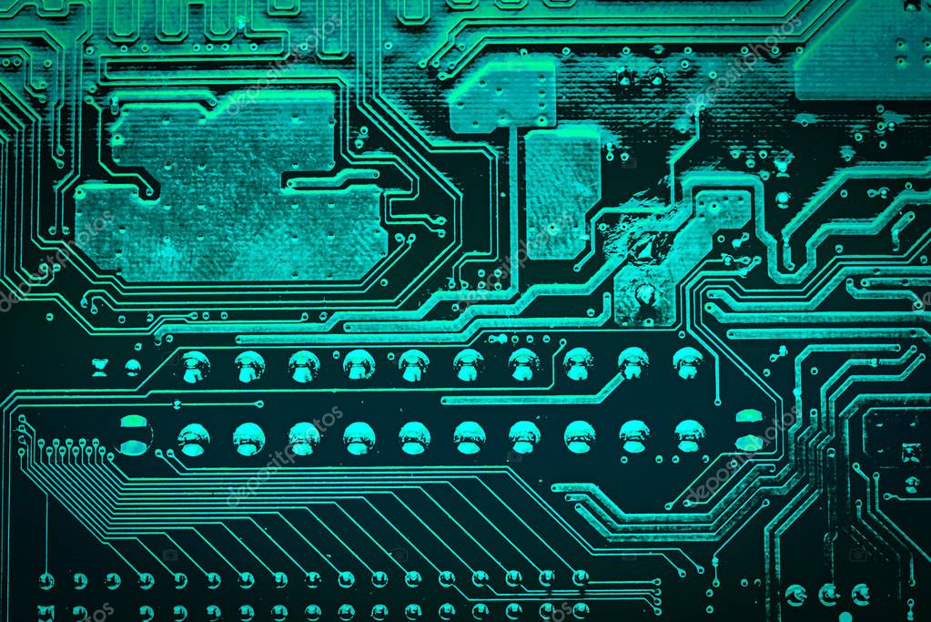 Circuit board. Electronic computer hardware technology. Motherboard digital chip. Tech science