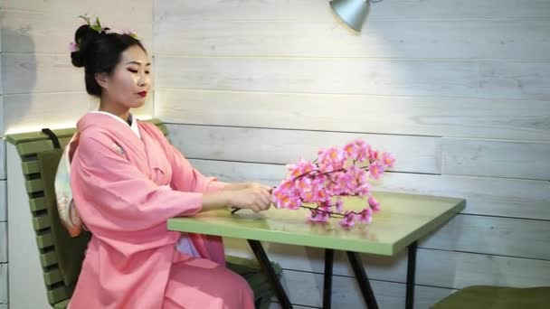 Krásné gejši v tradiční japonské kimono růžové u prázdného stolu v restauraci a výběry na pobočkách Třešňové květy