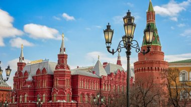 The State Historical Museum of Russia. Located between Red Square and Manege Square in Moscow, The Corner Arsenal (Uglovaya Arsenalanya) Tower of Moscow Kremlin.