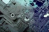 Obvodové desky. Elektronické počítače hardwarové technologie. Digitální čip základní desky. Technické vědy pozadí. Integrované komunikační procesor. Strojírenské součásti informací