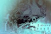 Nyomtatott áramkör. Elektronikus számítógép vasárú technológia. Alaplap digitális chip. Tech tudományos háttérrel. Integrált kommunikációs processzor. Mérnöki összetevőt