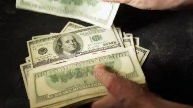 Frauen Hände Zählen Hundert Dollar Scheine Bündel Geld Bündeln Von