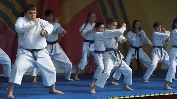 Moscow, Russia - May 14, 2017: group of children show karate kata on the festival of martial arts `One in the field is warrior`.