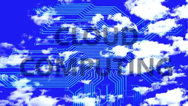 Cloud computing words on a silhouette of the motherboard against time lapse clouds in the blue sky.