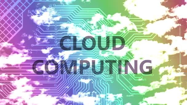 Cloud computing words on a silhouette of the motherboard against time lapse clouds in the rainbow gradient colored sky.