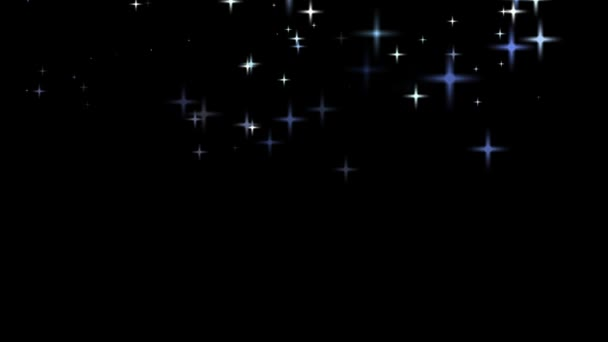 Falling white and blue stars at the top of the black screen background HD 1080 loop