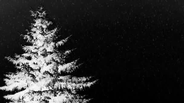 einsamer Weihnachtsbaum im Winter - Infrarotlandschaft. Schnee fällt unter schwarzem Himmel. Kopierraum für Ihren Text.