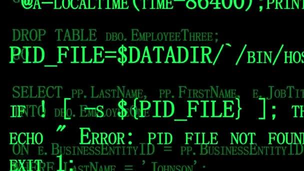 Fonte di software programmazione codice sullo schermo del computer nero. Sviluppatore lavora su codici di programma in ufficio. Priorità bassa di tecnologia. Due strati. Pronto per la sovrapposizione.
