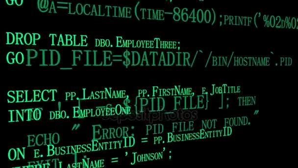 Fonte di software programmazione codice sullo schermo del computer nero. Sviluppatore lavora su codici di programma in ufficio. Priorità bassa di tecnologia. Due strati con codici diversi. Pronto per la sovrapposizione. Vista di angolo laterale