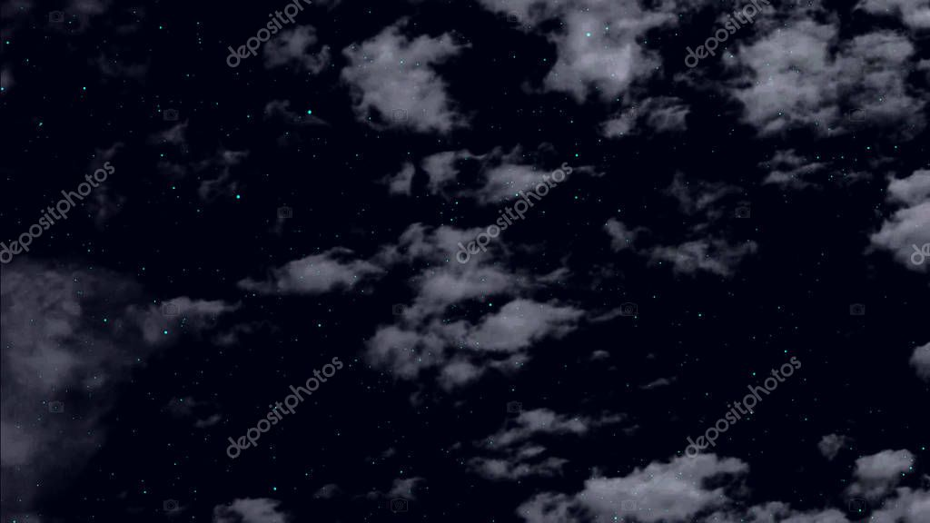 clouds float against the background of the night starry sky and twinkling stars.