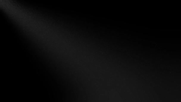 Dark with spotlight from the top left corner and white dust falling from above animated abstract background.