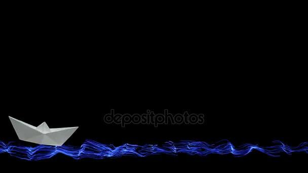 Jedna bílá origami papírových lodiček animovaný plachty na malované moře a vlny na černém pozadí v dolní části obrazovky, s kopií prostor pro váš nápis nahoře