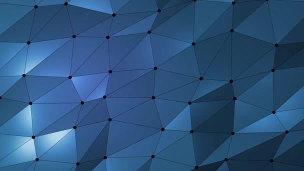 Tmavě modrá kreativní zářící geometrický trojúhelníkový pozadí animace ve stylu Origami.