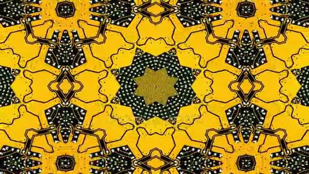 Caleidoscopio modello 3d render. Sfondo giallo senza giunte. Stampa grafica geometrica Mandala. Elemento di design psichedelico per carta da parati, scrapbooking, tessuto. Modello di scheda madre del PC