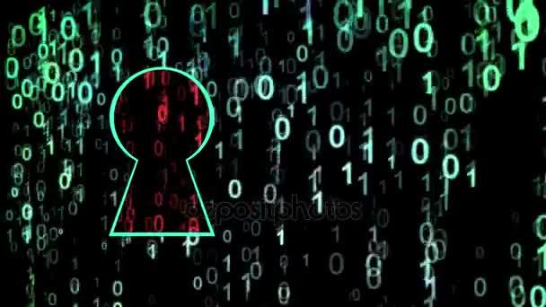 Bezpečnostní koncepce. Zamčený zámek na digitální zázemí, kybernetická bezpečnost, zelená abstraktní Ahoj rychlost internetu technologie pozadí animace. Červené zranitelné oblasti v klíčové dírce