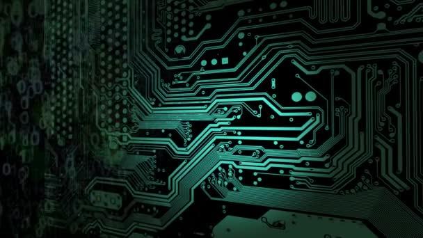 Abstraktní technické zázemí. Webový vývojář. Počítačový kód. Programování. Kódování. Hacker koncept. Zelené neon binární čísla 0 a 1 spadají shora dolů po stranách zapnutí obvodu