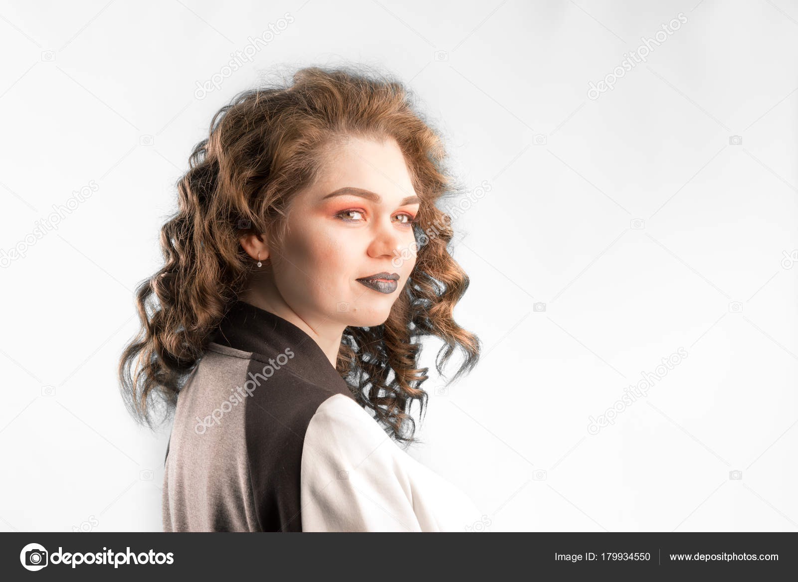 Young Beautiful Caucasian Woman Long Curly Hairs Half Turned Stock