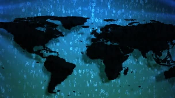 Mapa světa na animované shora dolů modré číslice 0 a 1 binární kód. Tmavě kontinenty se stíny a světla světlice na bocích. Koncepce Informatizace společnosti a digitální svět.